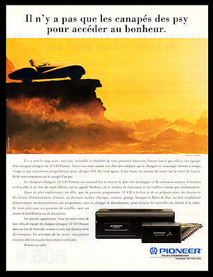Pioneer 12 CD Player AD 1994 French Text Audio Sports Car Photo Art AD