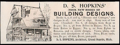 Architecture Grand Rapids D.S. Hopkins Architect 1893 Building Homes Ad - Paperink Graphics