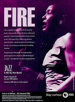 Billie Holiday Jazz 2000 Ad Ken Burns Film PBS Advertising