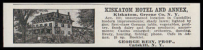 Kiskatom Catskill 1915 Kiskatom Hotel Greene Co NY German Table Hotel Print AD