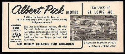 Albert Pick Motel Ad Rt66 St Louis Missouri 1964 Roadside Ad Route 66 Travel - Paperink Graphics