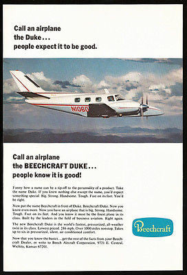 1968 AD Aircraft Beechcraft Duke Twin Airplane Flight Photo Illustration Advert - Paperink Graphics