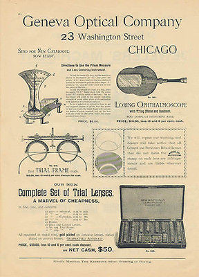 Optical Prism 1892 Eye Optics Ad Trial Frame Lenses Geneva Optical Co. Chicago