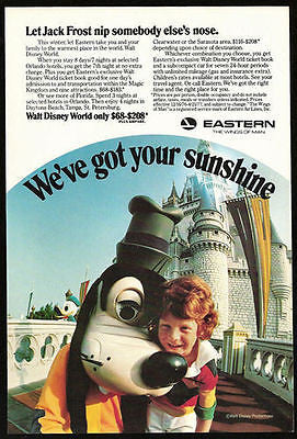 Goofy Eastern Airlines to Walt Disney World Florida Aviation 1977 Photo Ad
