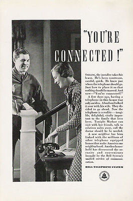 Bell Telephone You're Connected Installer to Customer 1934 Occupational Ad