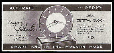 Antique AD Crystal Clock Modern Mirror Glass Waldorf Astoria Jeweler 1935 - Paperink Graphics