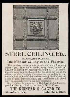 Ceiling Ad 1893 Interior Design Decorative Steel Kinnear & Gager Manufacturing - Paperink Graphics