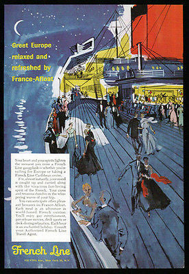 French Line Ocean Liner European Moon Stars Graphic Artwork 1956 Ad Ship Transportation - Paperink Graphics