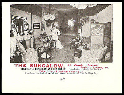 Tea Room AD 1906 The Bungalow London England American Ladies Welcome Room Photo