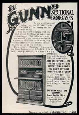 Grand Rapids Furniture Gunn Sectional Bookcases 1907 Bookcase Ad - Paperink Graphics