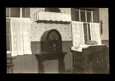 Cathedral Radio Photograph Table Model Dome Shaped Ornate Sewing Machine Antique