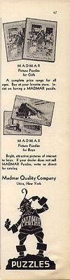 Toy Wood Picture Puzzles Madmar Puzzles 1930 Ad Utica NY Great Logo Graphics