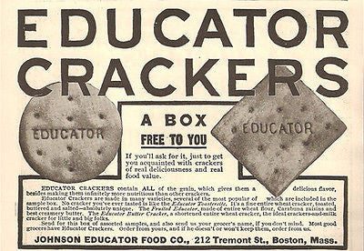 Johnson Educator Food Co. Boston AD Crackers Wheat Flour 1908 Kitchen Food Advertisement - Paperink Graphics