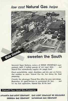 Dixie Crystal Aerial View Savannah Sugar Refinery 1959 Natural Gas Heating Ad - Paperink Graphics