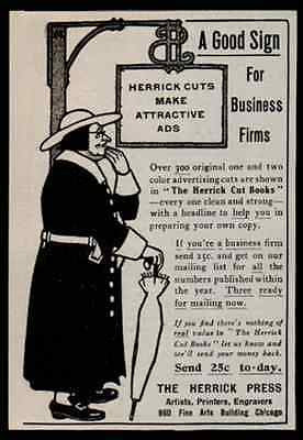 1907 Antique Ad Herrick Press Chicago Artists Printers Engravers - Paperink Graphics