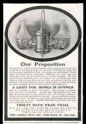 Angle Lamp Ornate Double Chimney Globe Burns Kerosene 1905 AD