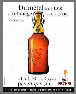 Fischer Beer AD 1996 French Text Pix Brown Glass Bottle Boy Logo Alsace Brewery