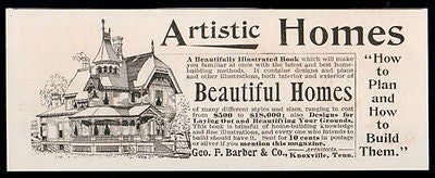 Architecture 1893 Antique AD Geo. F. Barber Artistic Homes - Paperink Graphics