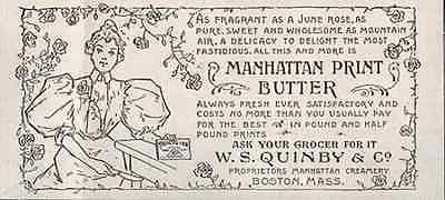 Butter Dairy Ad June Rose Beauty Manhattan Print Butter 1896 Dairy Food AD