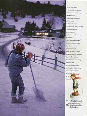 Hummels 1991 Vintage Magazine AD Boy Snow Shovel Country Home Inspiration Tale