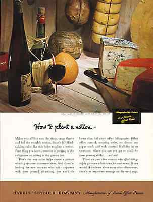 Cheese Wine Gourmet Harris-Seybold Offset Printers 1950 Ad - Paperink Graphics