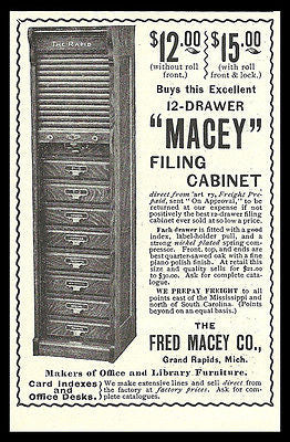 Oak Filing Cabinet 1899 Office Furniture AD Macey Grand Rapids Arts Crafts Decor AD