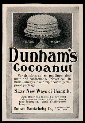 Cocoanut Cake Dunham's St. Louis 1902 Dessert Recipe Antique Dessert Food AD - Paperink Graphics