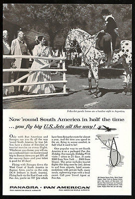 Panagra Airways Argentina Polka- dot Parade Horses 1960 Photo Ad Pan American
