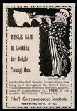 1896 Antique Ad Uncle Sam Telescope Patriotic Graphic Artwork Civil Service Exam