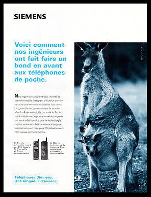 Siemens Telephone Ad 1996 French Text Kangaroos Mommy Pouch Baby Wireless AD - Paperink Graphics