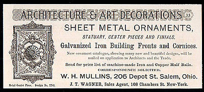 Architectural Metal Work Decor W. H. Mullins OH Ornamental Metals 1891 Small AD - Paperink Graphics