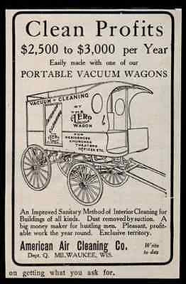 Advertising Wagon Vacuum Cleaning Sales Profits 1907 AD American Air Cleaning WI