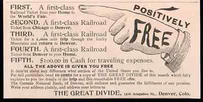 Railroad Ticket Advertisement Promo World's Fair 1893 The Great Divide Denver CO AD