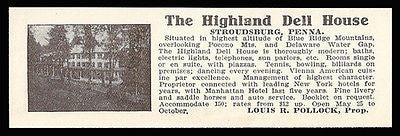 Highland Dell House Stroudsburg Pennsylvania 1915 Blue Ridge Mts Photo Ad - Paperink Graphics