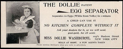 Doll 1896 Ad Dollie Egg Separator Kitchen Cooking Miss Dollie Washburne - Paperink Graphics