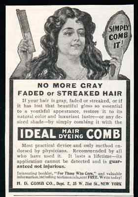 Ideal Hair Dyeing Comb Simply Comb It 1905 AD No More Gray Faded Streaked Hair