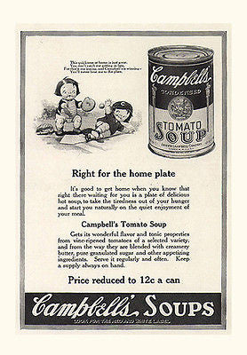 Campbells Tomato Soup Ad 1920s Campbell's Kids Baseball Home Run