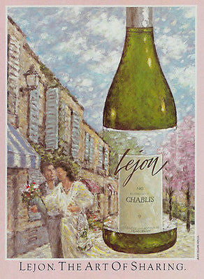 Lejon The Art of Sharing Chablis Wine Bottle  1983 AD - Paperink Graphics