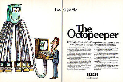 Computing Advertisement RCA AD 1970 Octopeeper Video Terminal Computer 2 page Ad - Paperink Graphics
