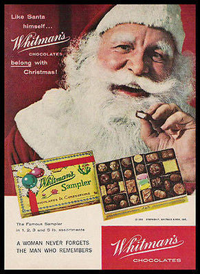 Jolly Santa Claus Whitman Chocolates 1958 Photo Ad