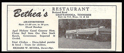 Bethea Restaurant Ad Chattanooga Tennessee AC 1953 Roadside Photo Ad Travel - Paperink Graphics