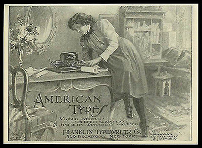 Franklin Typewriter American Woman Casually in Her Study 1898 Small Ad - Paperink Graphics