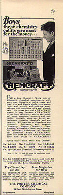Chemistry Outfit Chemcraft Boys Toy 1930 Antique AD Porter Chemical Co. Maryland - Paperink Graphics