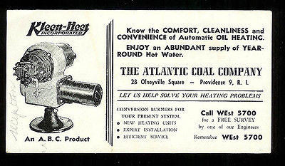 Atlantic Coal Co. Providence, RI Ink Blotter Plumbing Oil Heat Conversion Advert - Paperink Graphics