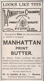 Manhatten Creamery Print Butter 1896 Dairy AD Quinby Boston Massachusetts - Paperink Graphics