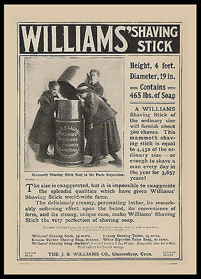 Williams Shaving Stick Exaggeration 1900 Paris Exposition Photo Ad