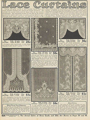 Antique Lace Curtains 1914 Sears Catalog Home Decorating AD - Paperink Graphics