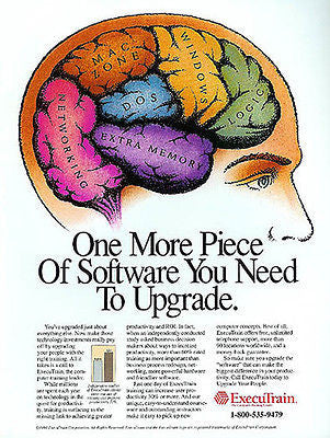 Computer Brain Diagram Art  ExecuTrain Training 1994 Ad - Paperink Graphics