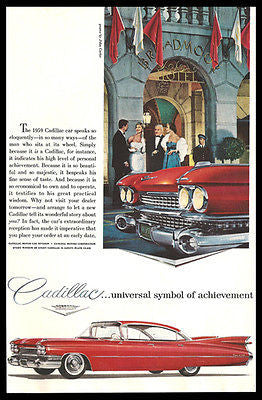 Cadillac Fantastic Fins Red 4 Door Hardtop Broadmoor Hotel 1959 Photo Ad