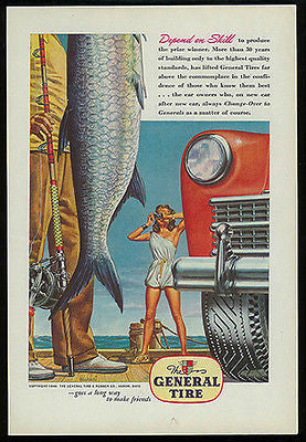 Prize FISH 1946 Harari Pin-Up Art Ad General Tire